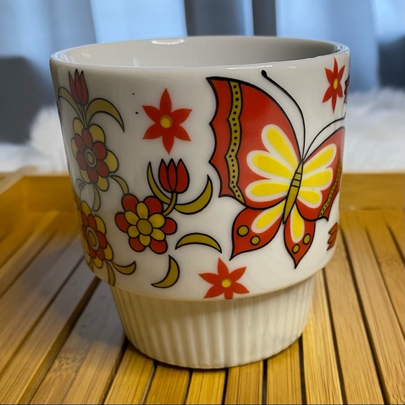 Mid Century Mug Butterflies - Red & Yellow